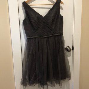 Vera Wang White gray chiffon and lace dress